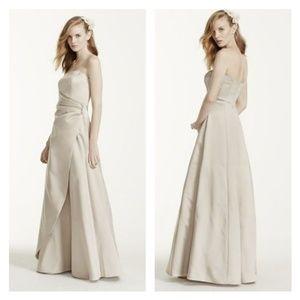 Blue Satin Bridesmaid Dress and Jacket